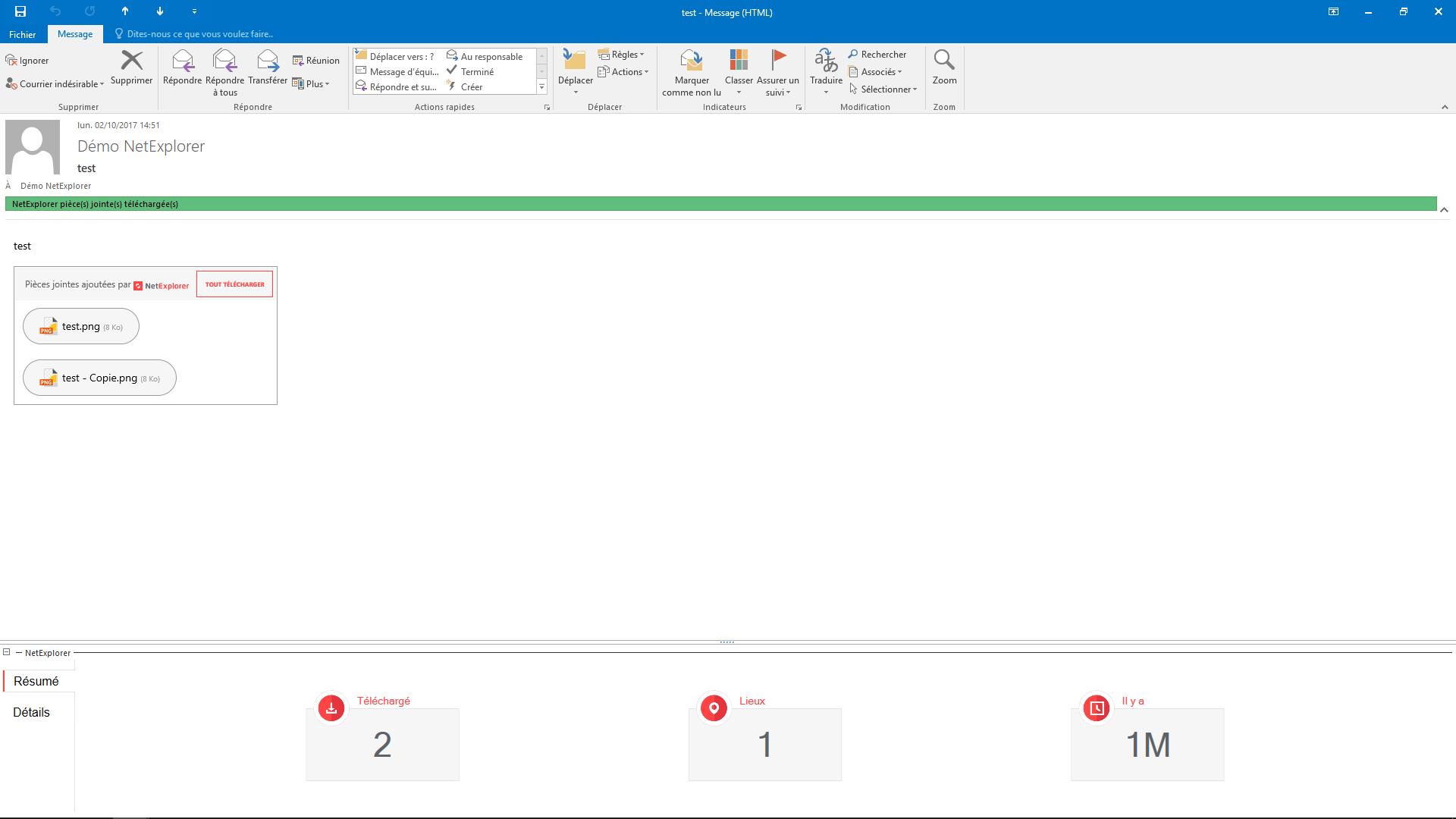 Ce plugin s'installe directement sur votre messagerie Outlook. NetExplorer Drive vous permet d'envoyer des pièces jointes sans limite de taille. Bénéficiez également d'une traçabilité totale de vos éléments envoyés.