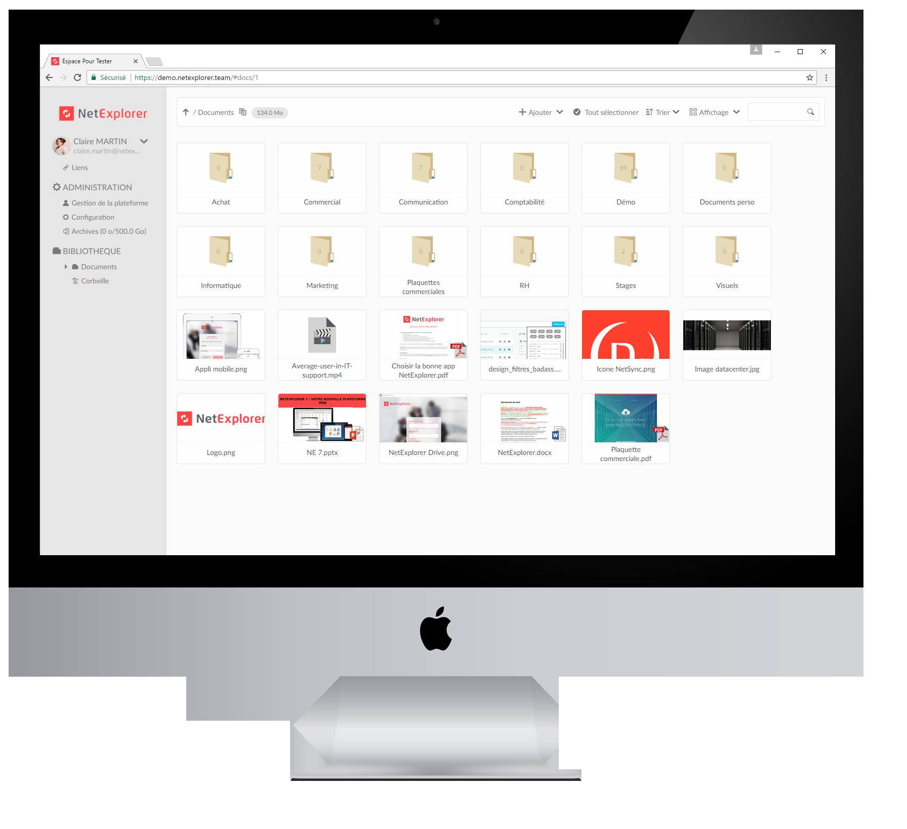 Stockage sécurisé, partage de fichiers sans limite de taille, gestion des droits d'accès des utilisateurs, travail collaboratif et signature électronique.