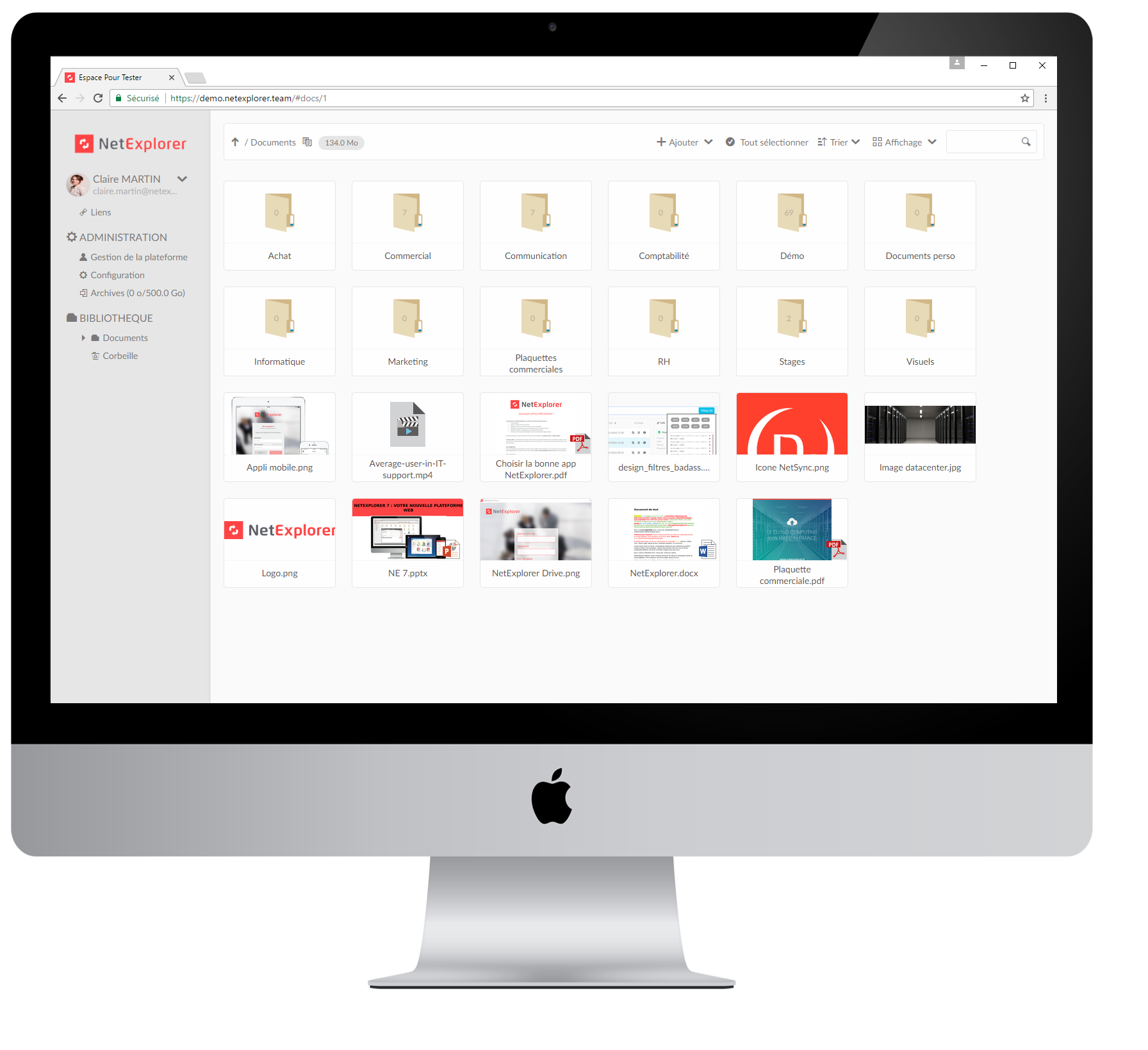 Stockage sécurisé, partage de fichiers sans limite de taille, gestion des droits d'accès des utilisateurs et travail collaboratif.