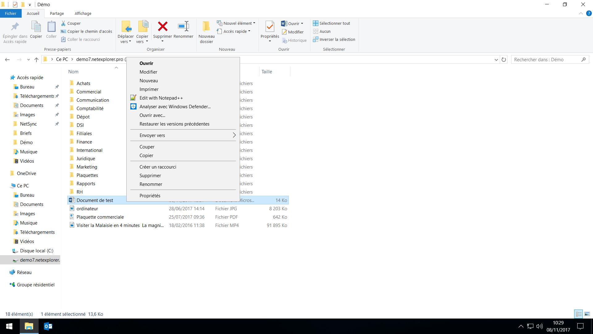 Assistant de connexion en lecteur réseau. Vous pouvez ainsi connecter votre plateforme en disque réseau et accéder à tous vos documents rapidement et en toute simplicité depuis votre poste de travail.