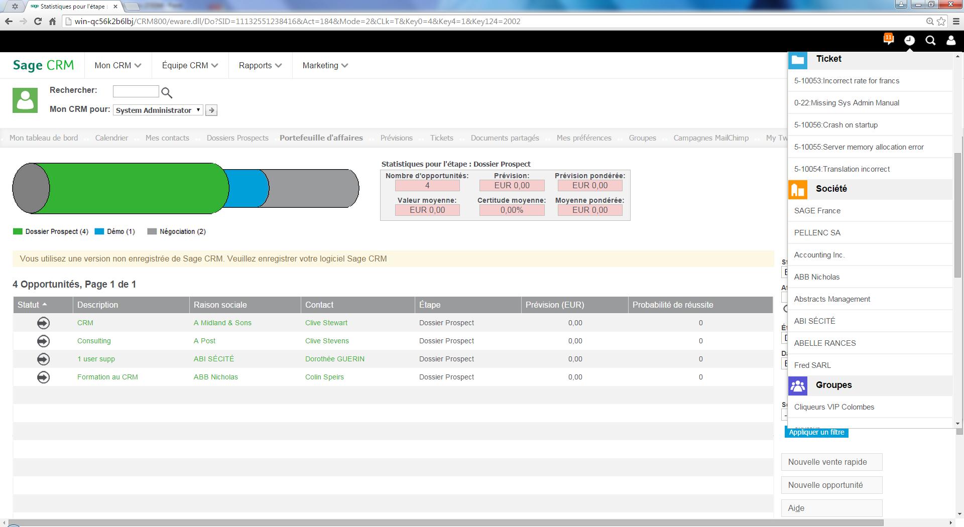 Sage CRM: Interface web adaptive, Base de savoir, wiki, Modules