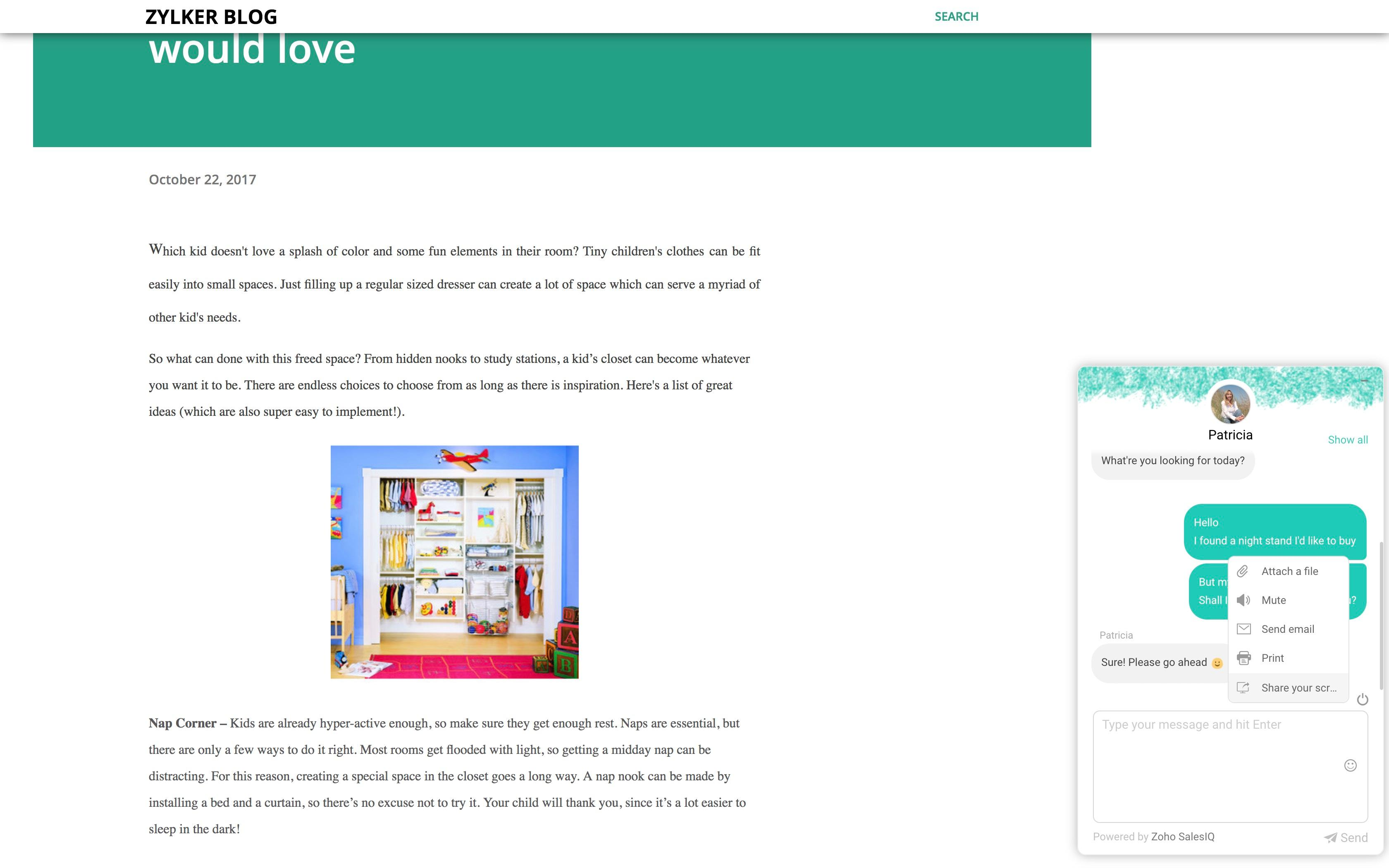 Zoho SalesIQ-ZSIQ chat window