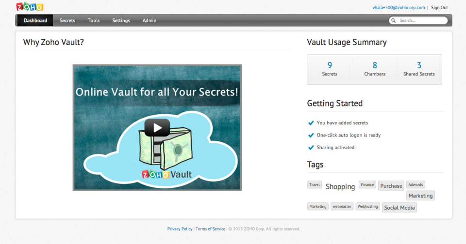 Zoho Vault-screenshot-0