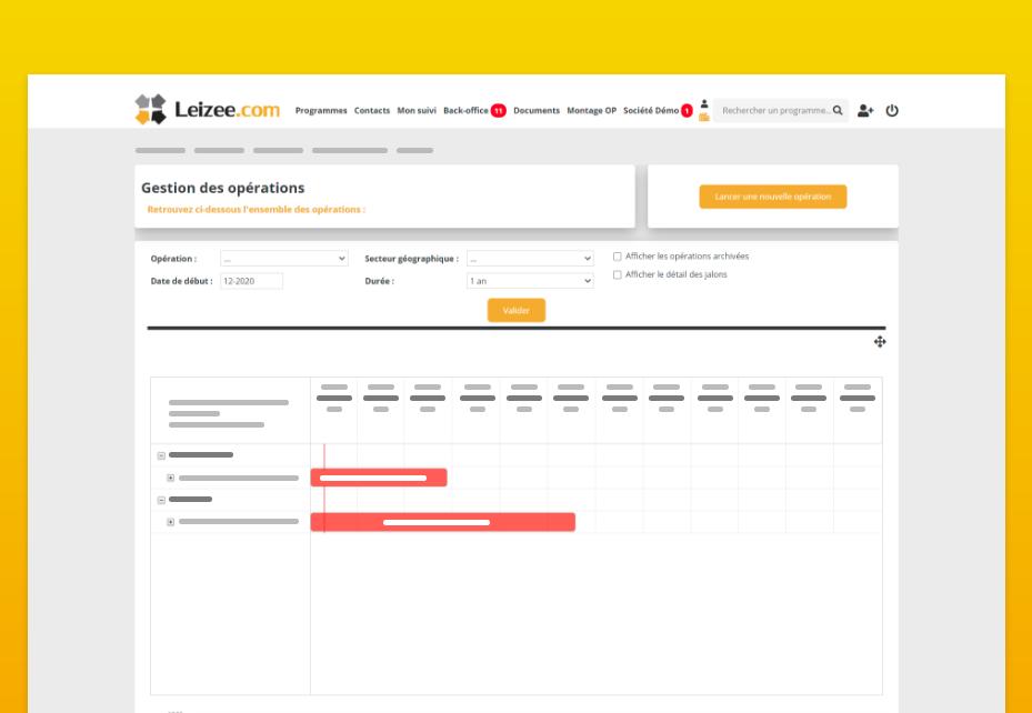 Page de gestion des tâches et opérations