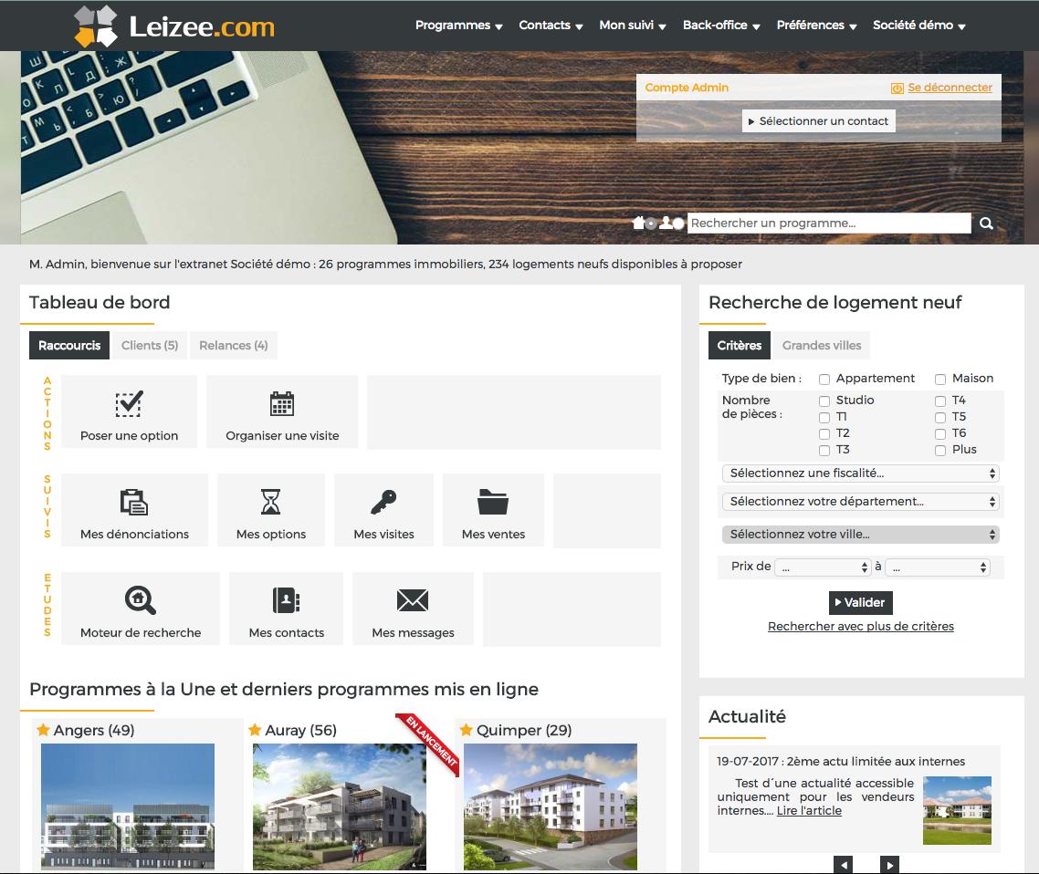 Exemple de page d'accueil