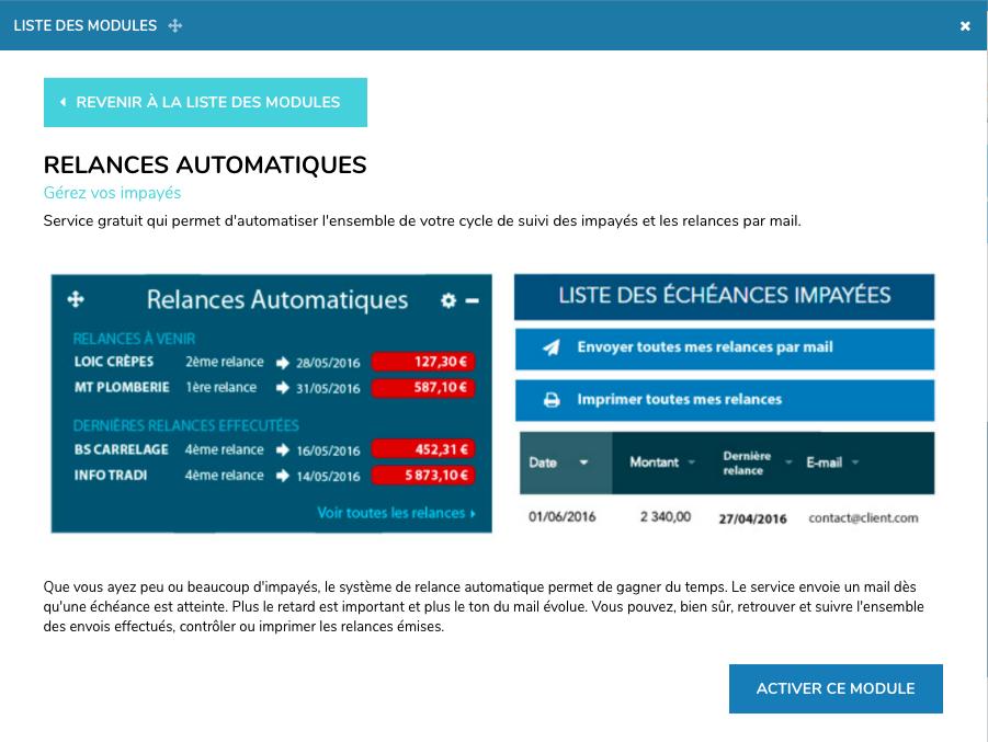 Logiciel de facturation Henrri :relances automatiques