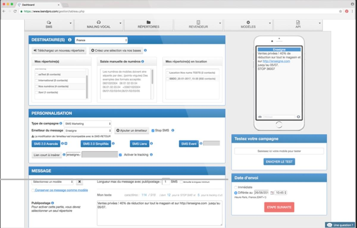 iSend Pro : planification des campagnes SMS