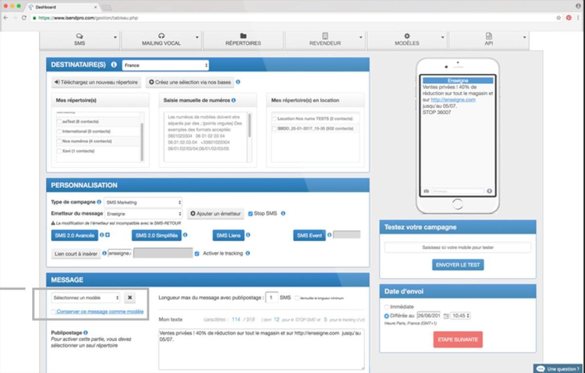 iSend Pro : enregistrement des modèles de SMS