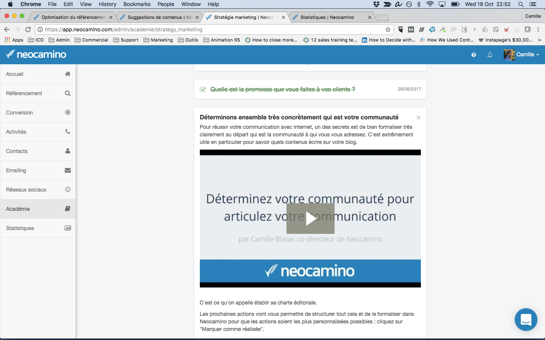 Académie Neocamino pour apprendre à utiliser tous les outils marketing indispensables