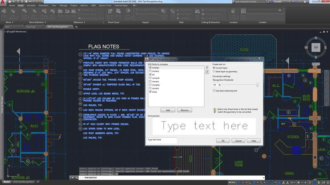 Importation de géométrie ou de calques sous-jacents dans le dessin en cours en tant qu'objets AutoCAD  Les dernières améliorations incluent la reconnaissance de texte SHX importé.