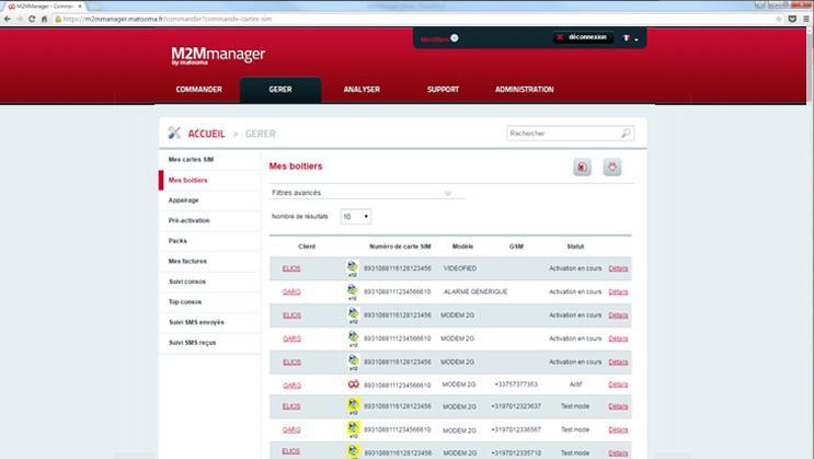 M2MManager : gestion des boîtiers