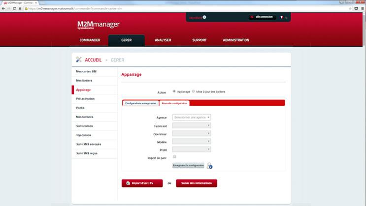 M2MManager : gestion des appairages