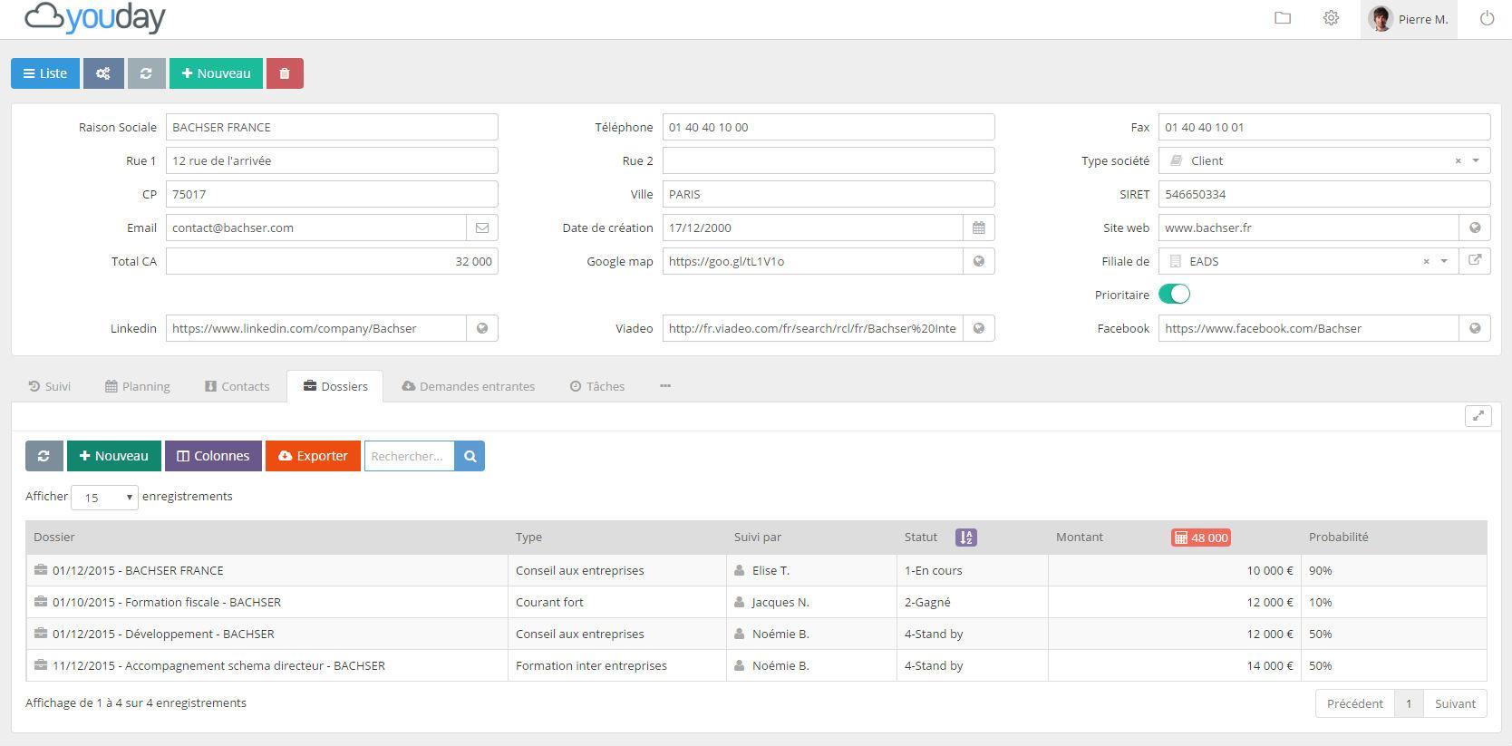 Youday CRM : gestion de comptes