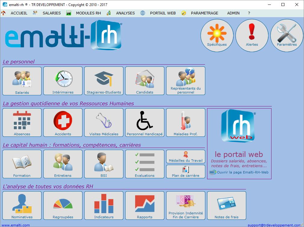 Emalti-RH : écran d'accueil qui permet de naviguer dans l'intégralité des modules RH