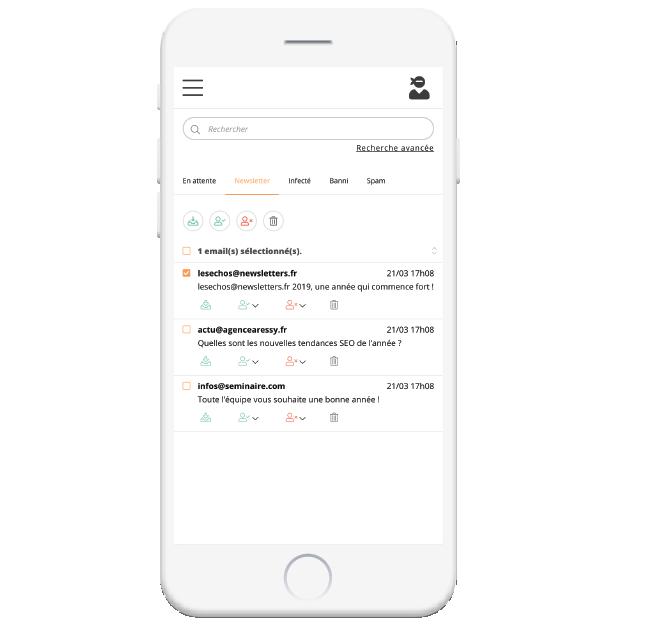 Depuis une interface web personnelle, chaque collaborateur a accès à tous ses emails stoppés par Mailinblack. Il est 100% autonome dans la gestion de ses emails, il peut récupérer des messages, autoriser ou bannir des expéditeurs.