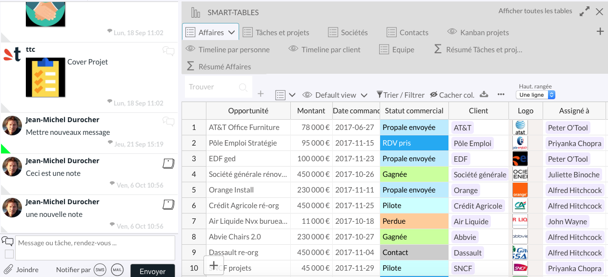 Table view : collaboration space (sms, email, push notification) on the left side and database of the right side
