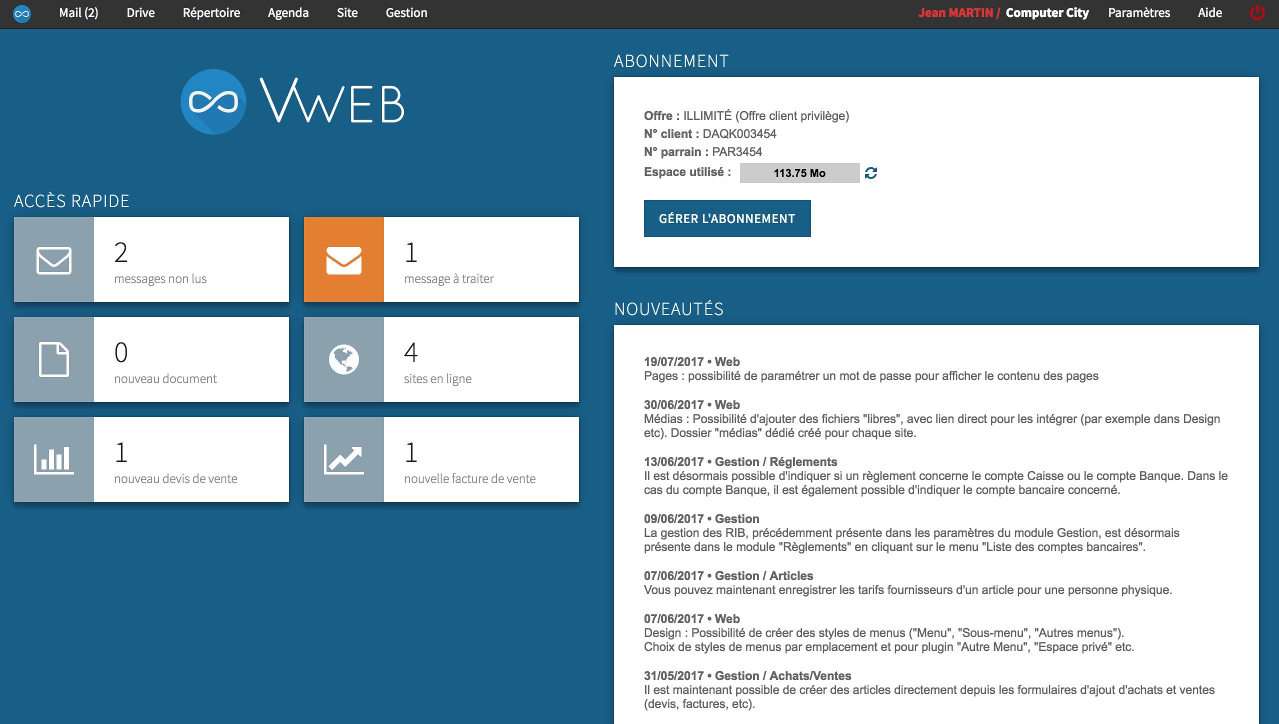 Accueil de VWeb