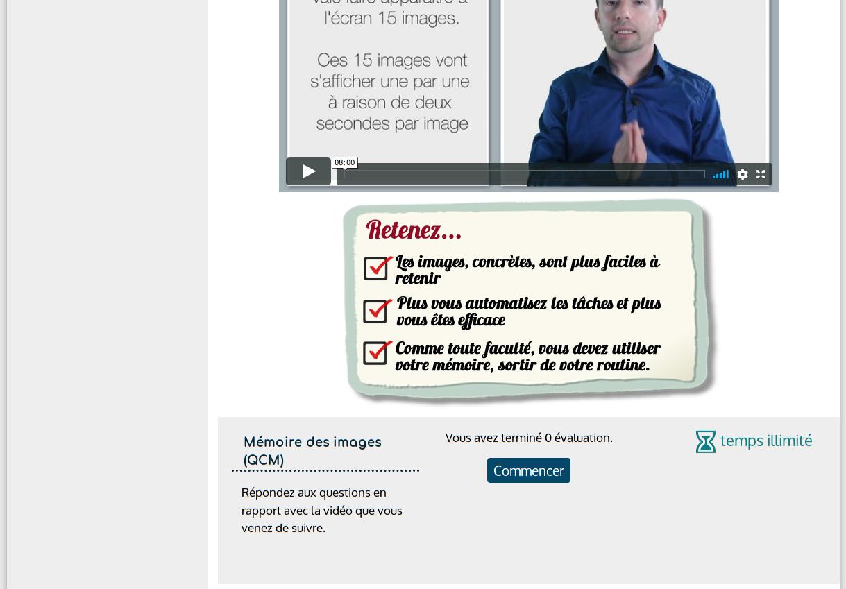 Exemple de contenu de la formation avec Vidéo et QCM