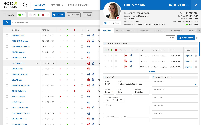 Vue du portail recruteur - listing candidat + ouverture d'une fiche candidat