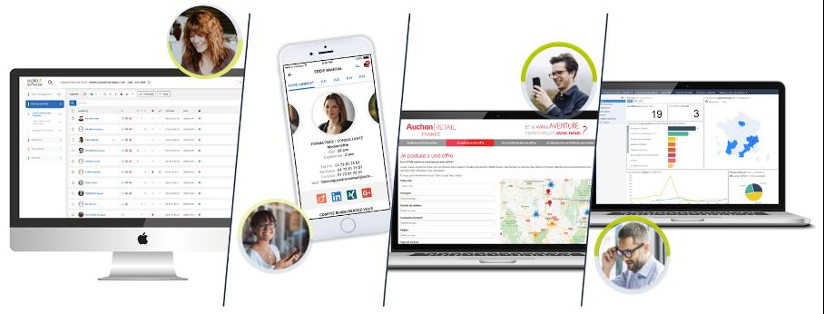 4 Interfaces Eolia Software ats recruteur, recrutement collaboratif, site carrière et reportings / statistiques