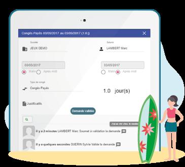 Demandes de congés sur Desktop, Tablette et Mobile