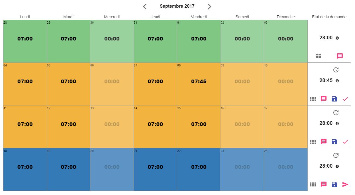 Saisie du temps simplifiée via un planning