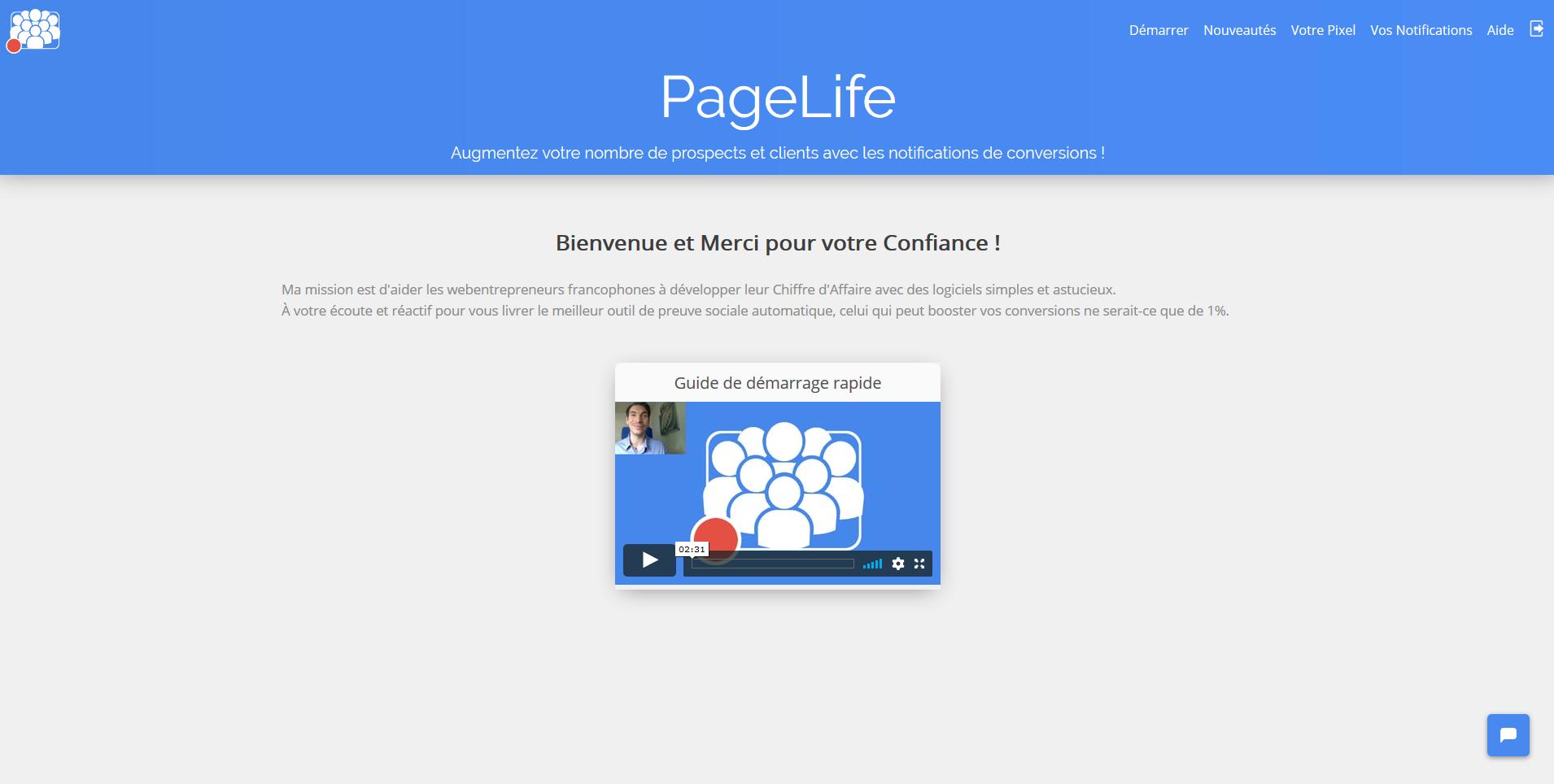 PageLife interface d'accueil du logiciel avant de créer une 1ère notification de preuve sociale