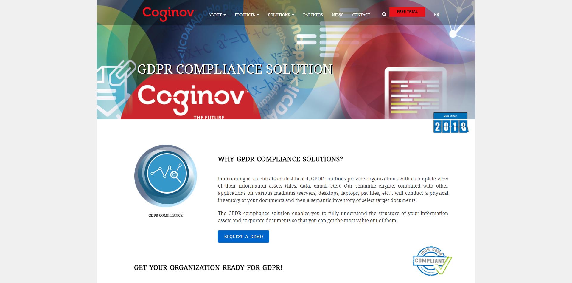 GDPR Compliance Solution page sur notre site web pour audit RGPD complet.