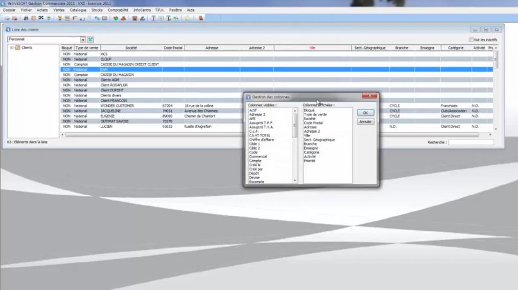 Interface WaveSoft : liste