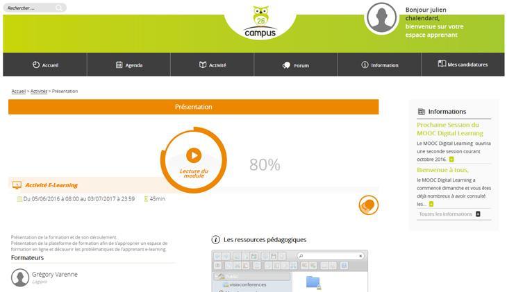 Un logiciel tourné vers l'apprenant : chat, forum, tutorat, questionnaire de satisfaction...