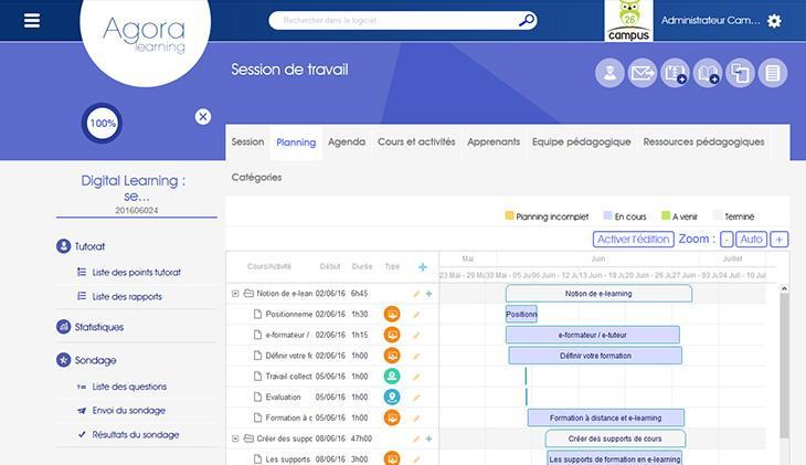 Des outils de gestion et de suivi : planning des sessions, gestion des utilisateurs, suivi des temps de connexion, résultats des évaluations...