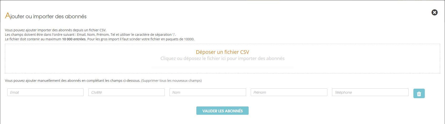 Ajoutez ou importez des abonnés via un fichier CSV