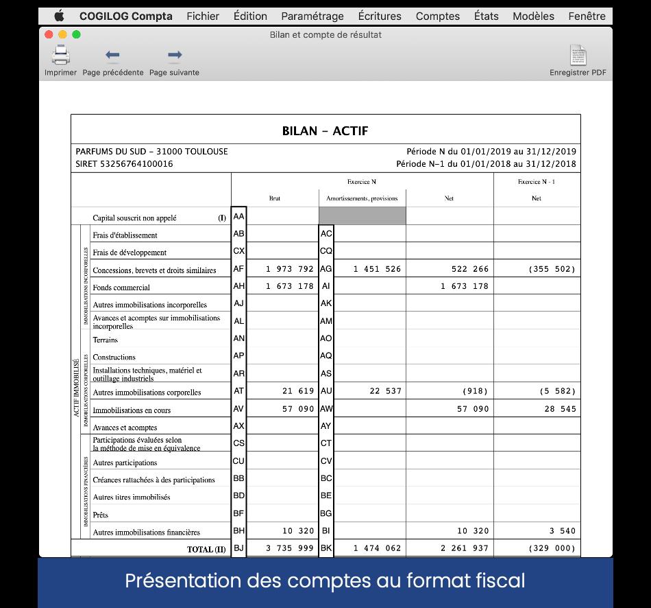 Edition du bilan et compte de résultat