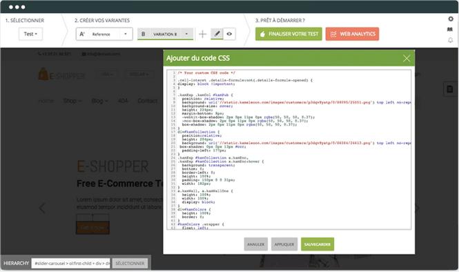 Kameleoon: Editeur de code, Actions contextuelles, Combinaisons de variantes