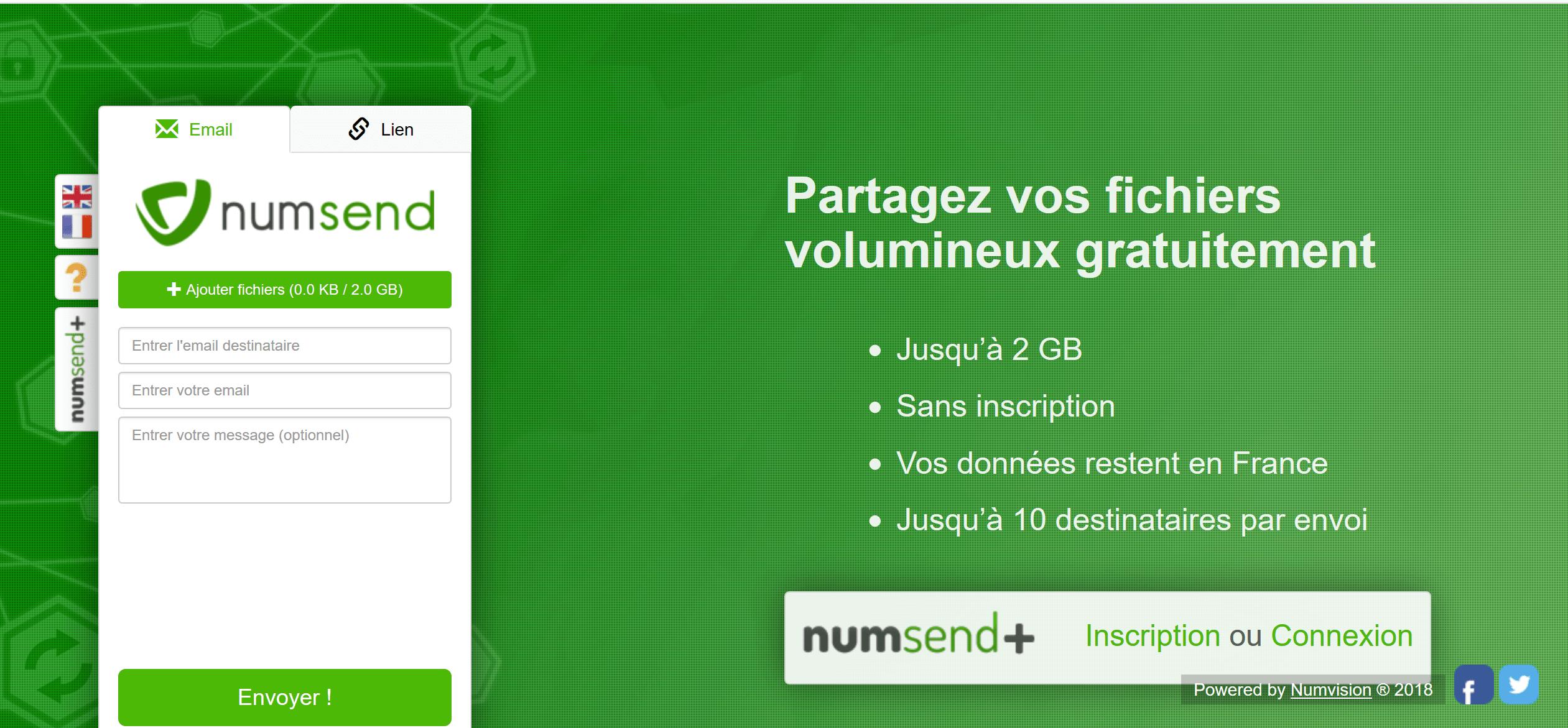 Avis NumSend : Envoi gratuit de fichiers lourds hébergés en France - Appvizer
