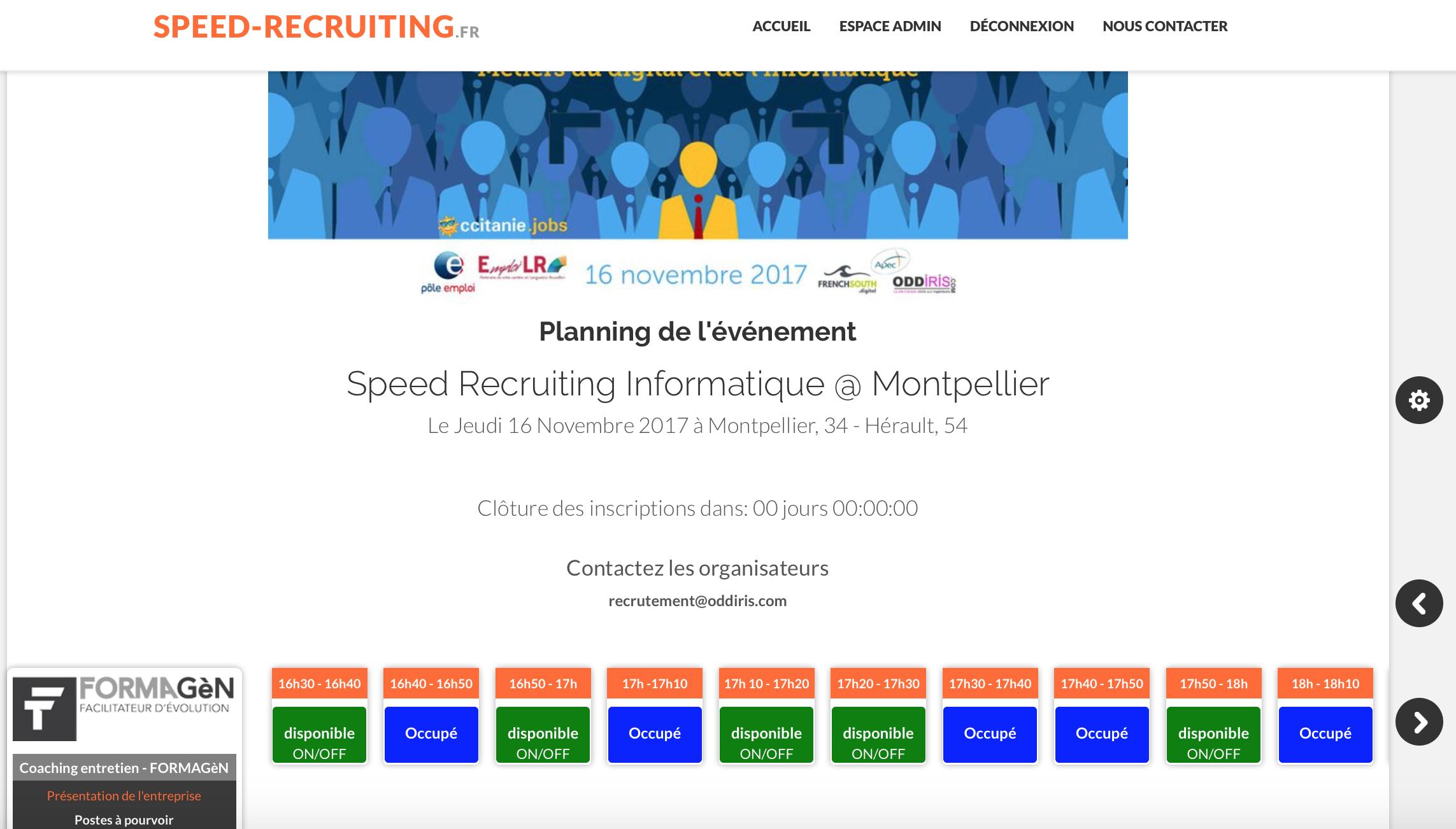Vision planning organisateur & recruteur
