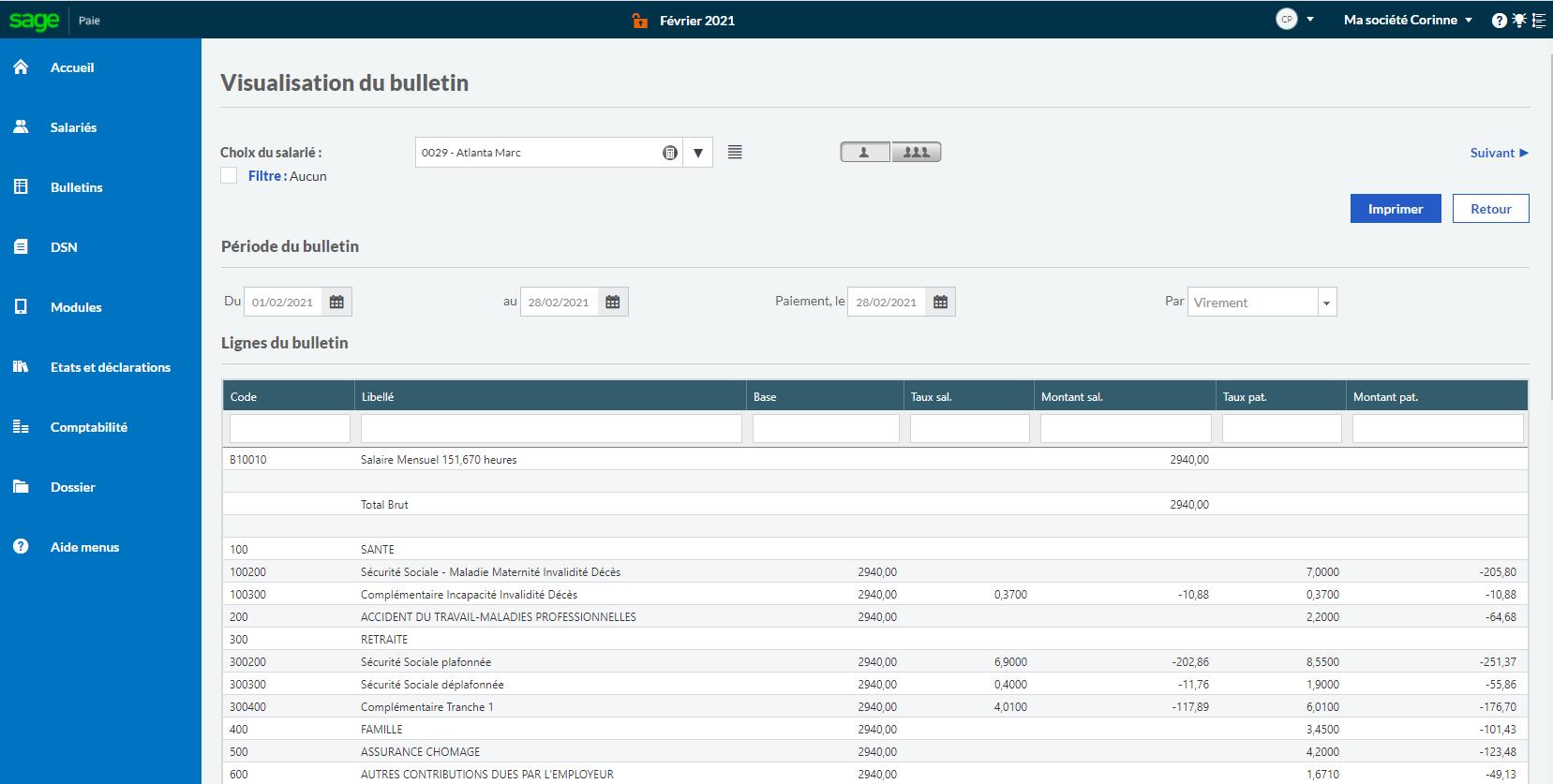 Visualisation du bulletin de paie et possibilité de modifier le détail des éléments du bulletin de salaire avant son paiement.