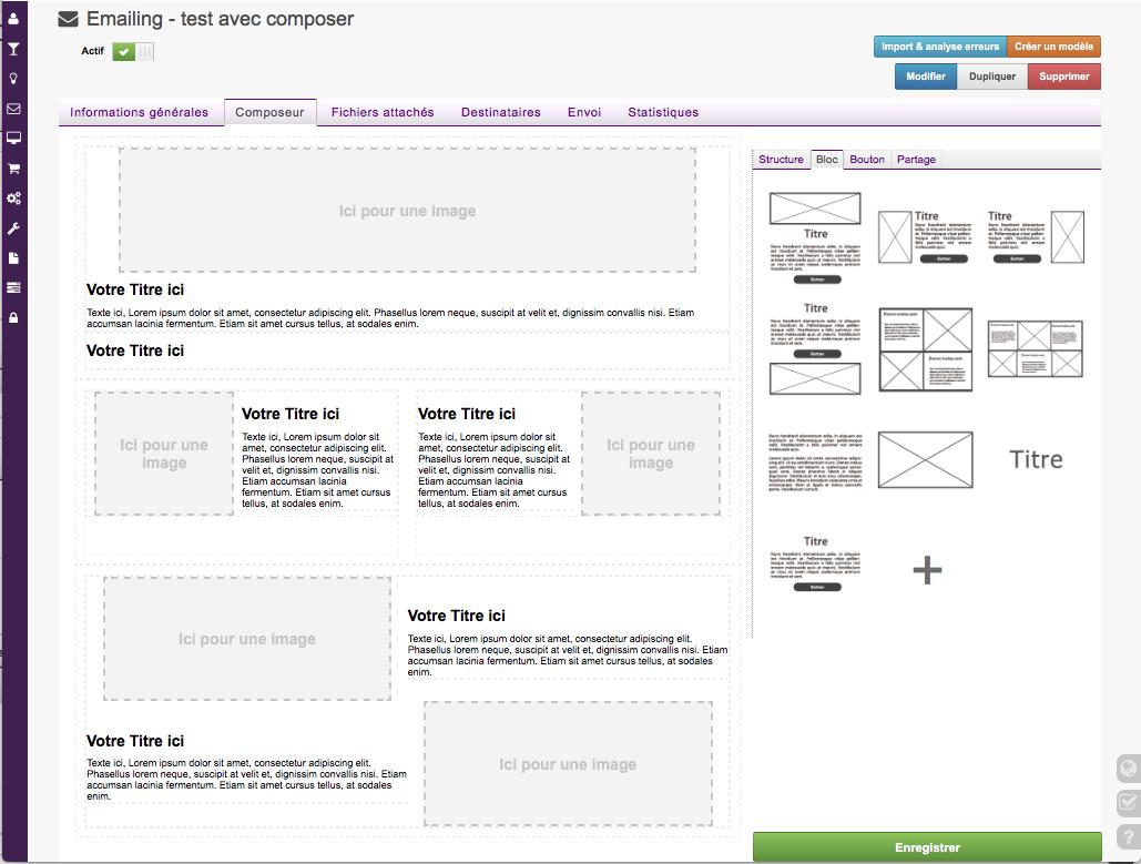 Utilisez notre composeur pour créer vos emailings ou nos templates et modèles.