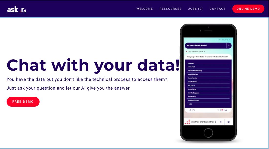 Avis askR.ai : Un chatbot pour interroger vos base de données - Appvizer