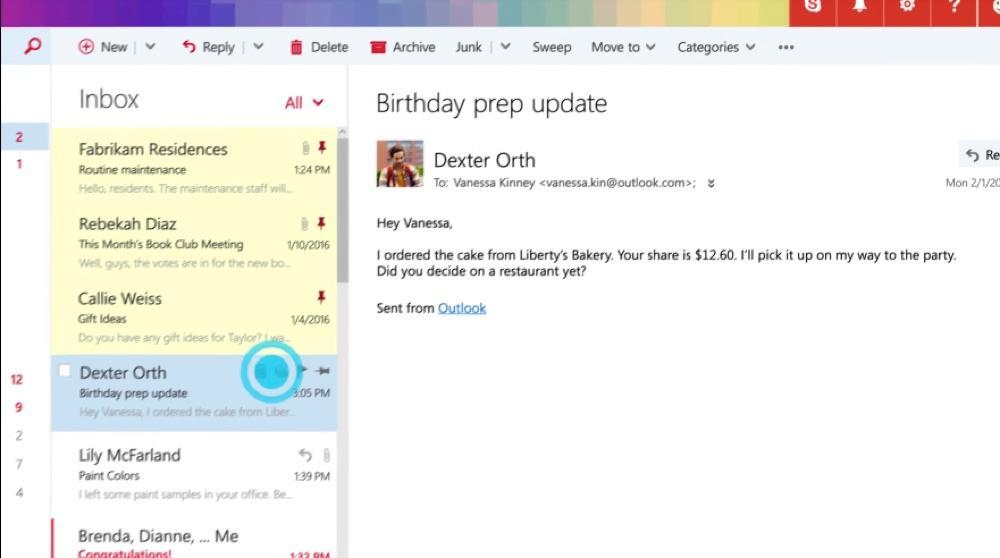 Gestion des emails dans Outlook