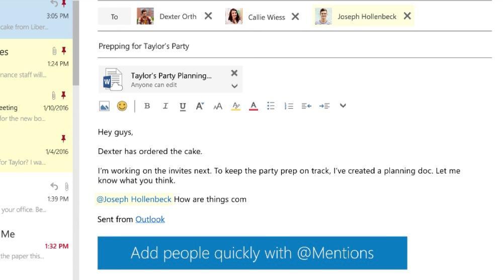 Citer et ajouter un destinataire dans Outlook