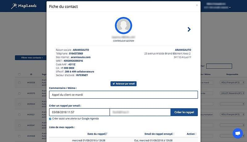 fiche contact