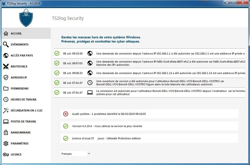Ecran d'accueil de la console d'Administration de TS2log Security
