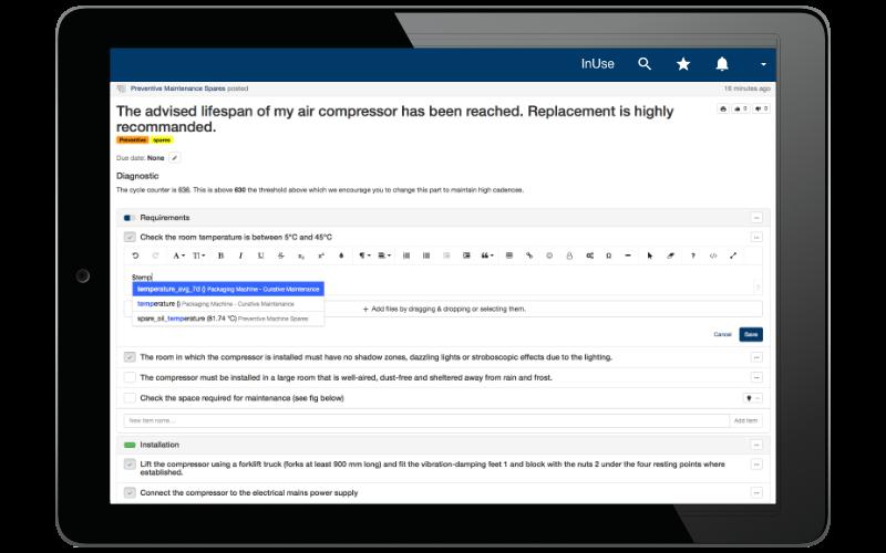 Accélérez l'édition des rapports de maintenance de vos équipes en incorporant automatiquement des données temps réel.