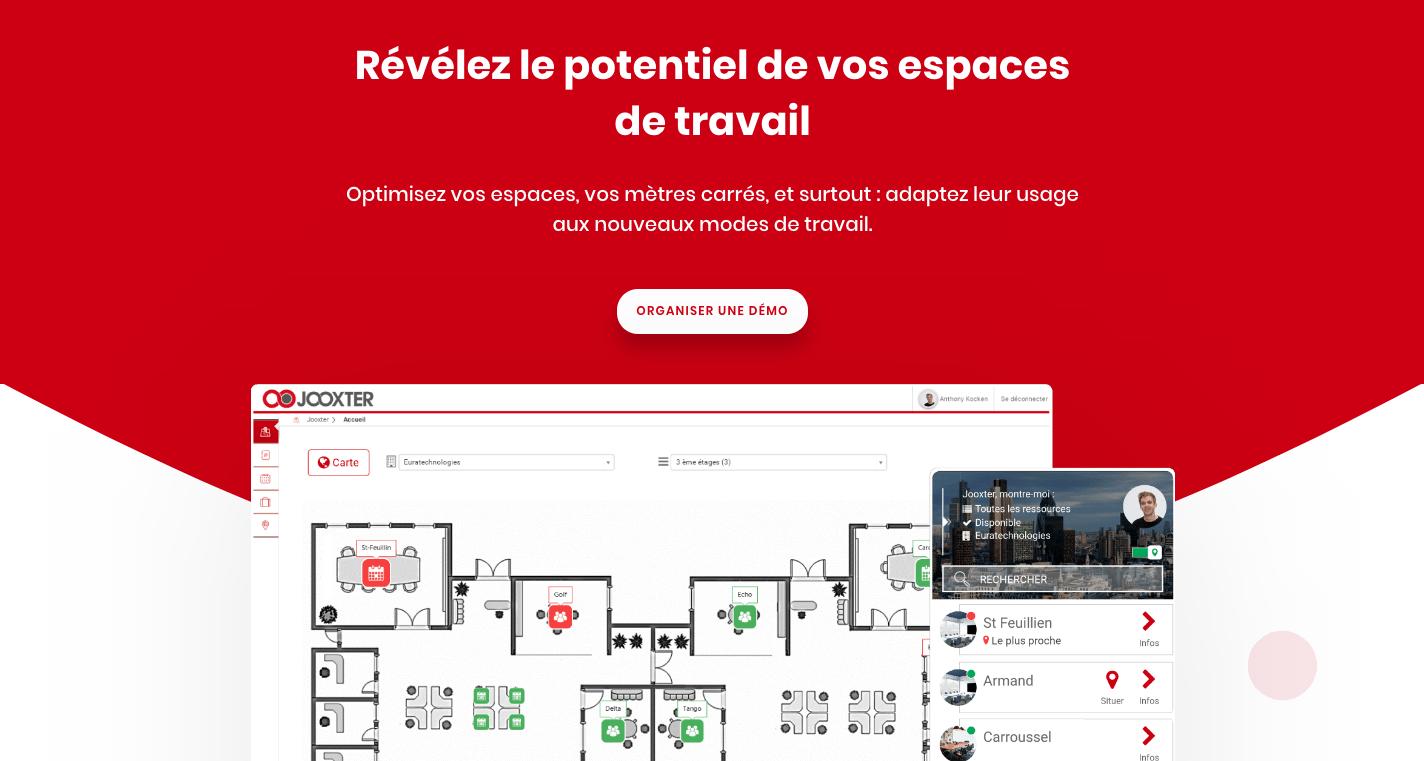 Home page de notre site web. Jooxter d'utiliser pleinement le potentiel d'un bâtiment tout en le rendant intelligence.