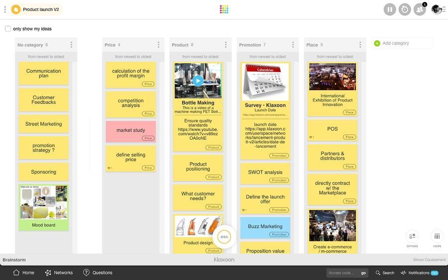 Klaxoon-Brainstorming en ligne