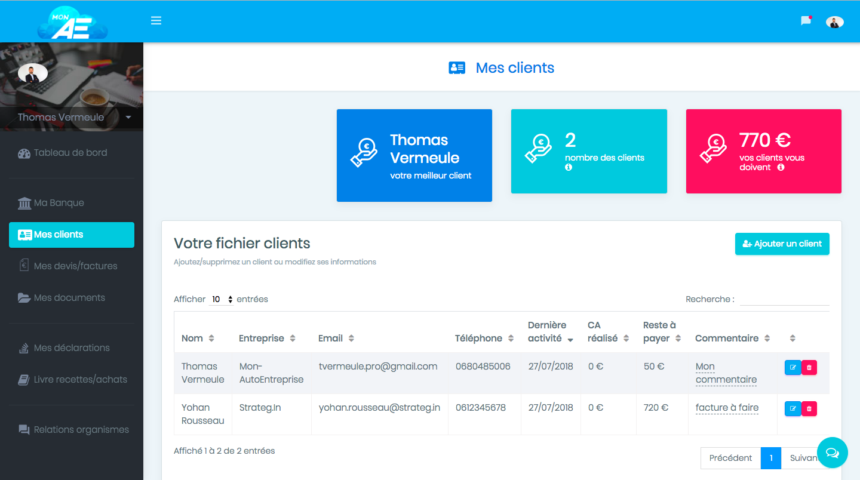 Fichier client complet pour suivre l'activité avec chaque client