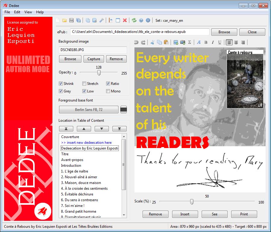 Avis Dedee : 1er logiciel PC/Mac à permettre la dédicace d'ebooks - appvizer