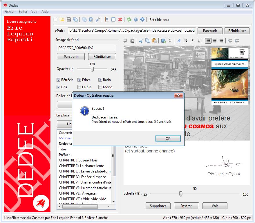 Insertion dédicace sous Windows