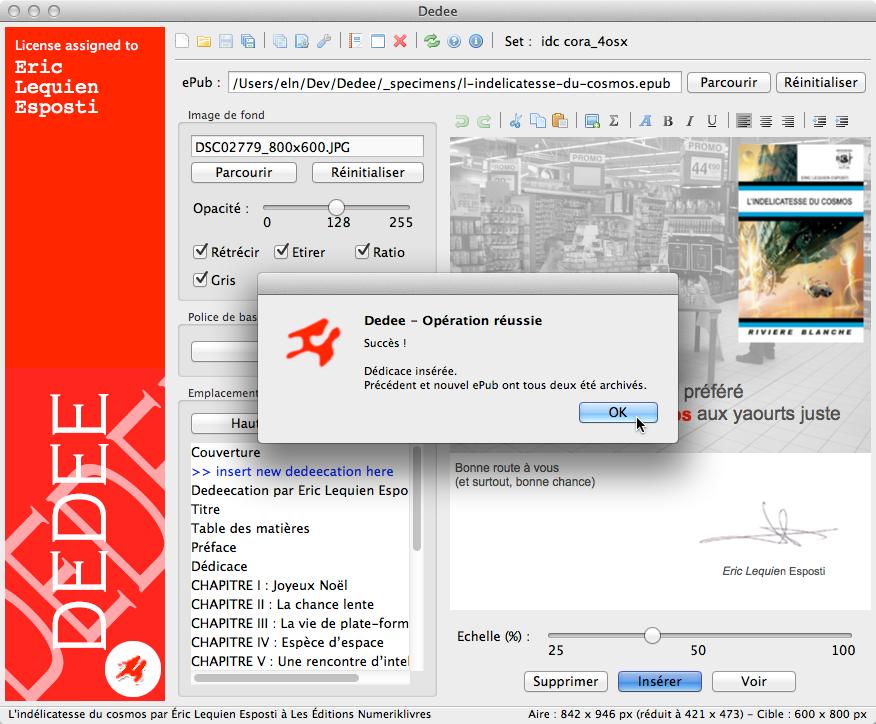 Insertion dédicace sous OS X et macOS